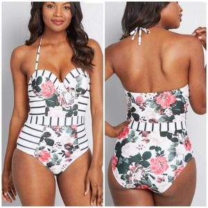 NEW ModCloth The Harper One-Piece Swimsuit Small